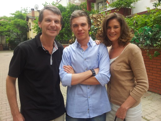 Family photo: Andy with Cristian Chistol & Katharina Weithaler